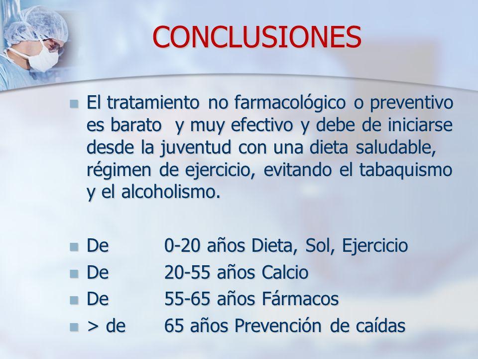 CONCLUSIONES El tratamiento no farmacológico o preventivo es barato y muy efectivo y debe de iniciarse desde la juventud con una dieta saludable, régimen de ejercicio, evitando el tabaquismo y el alcoholismo.