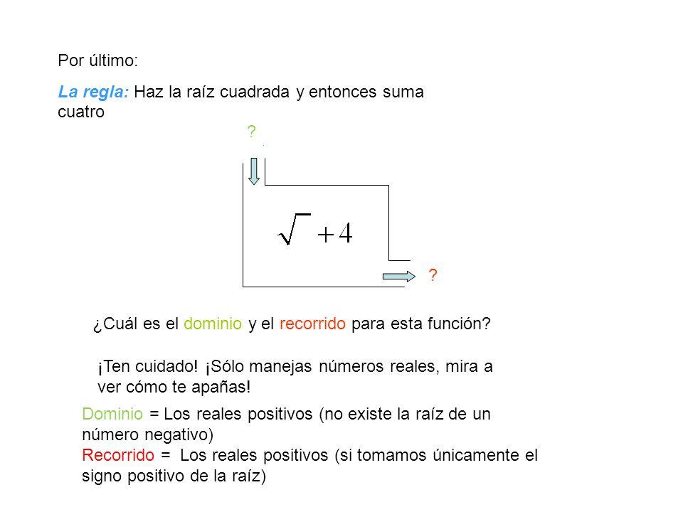 Una más: La regla: Halla el triple de la entrada y entonces réstale cinco -2 -11 40 115 ¿Cuál es el dominio y el recorrido para esta función.