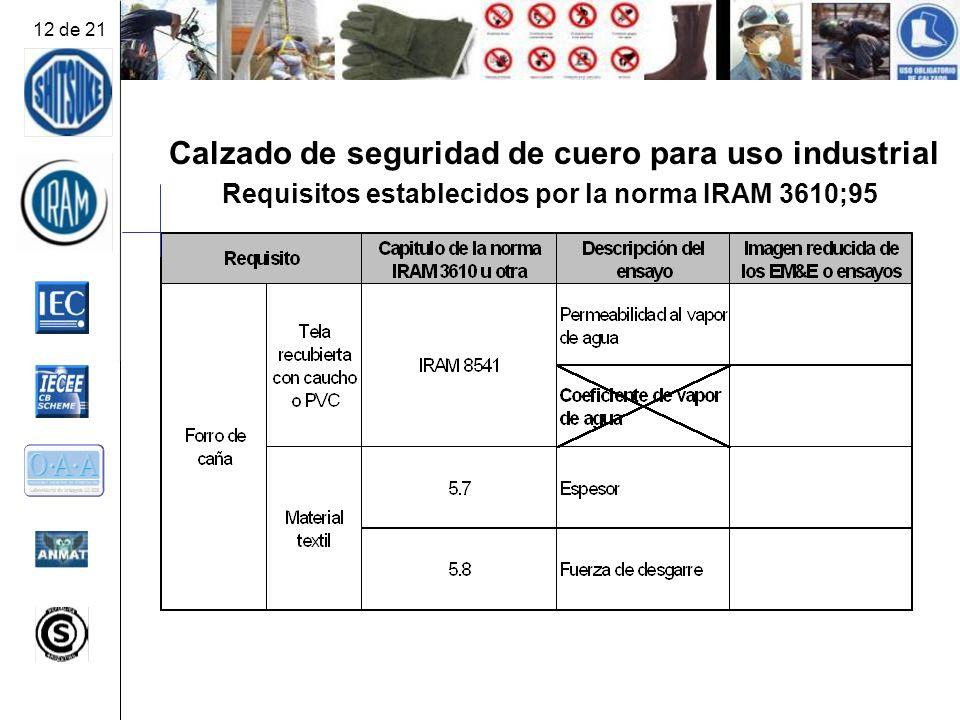 Calzado de seguridad de cuero para uso industrial Requisitos establecidos por la norma IRAM 3610;95 12 de 21