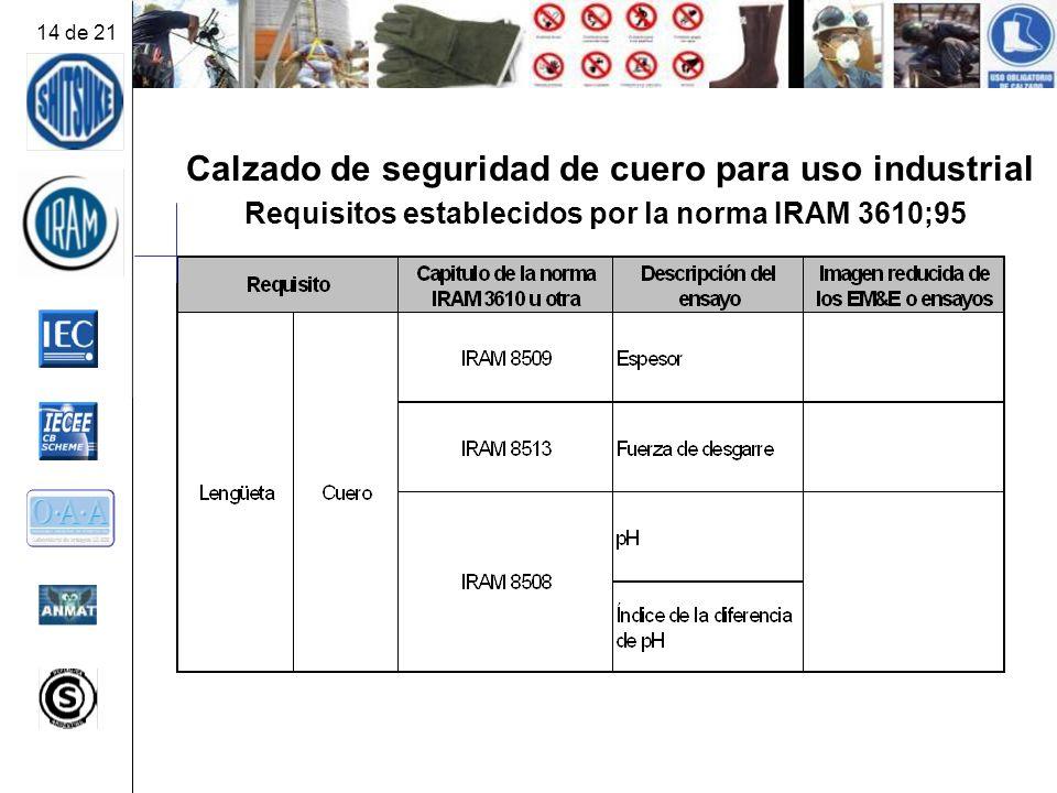Calzado de seguridad de cuero para uso industrial Requisitos establecidos por la norma IRAM 3610;95 14 de 21