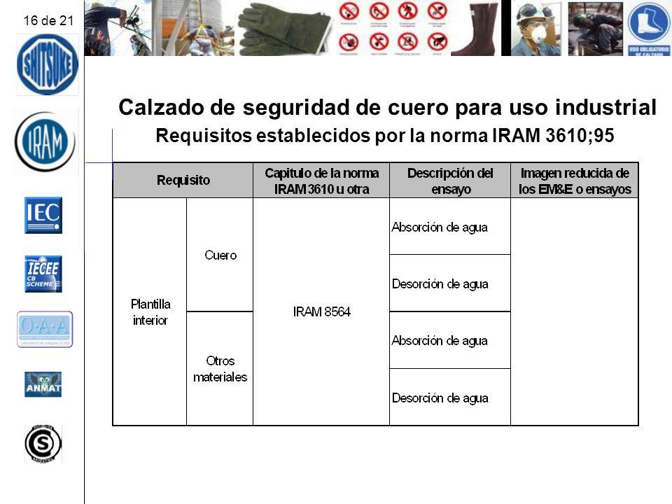 Calzado de seguridad de cuero para uso industrial Requisitos establecidos por la norma IRAM 3610;95 16 de 21