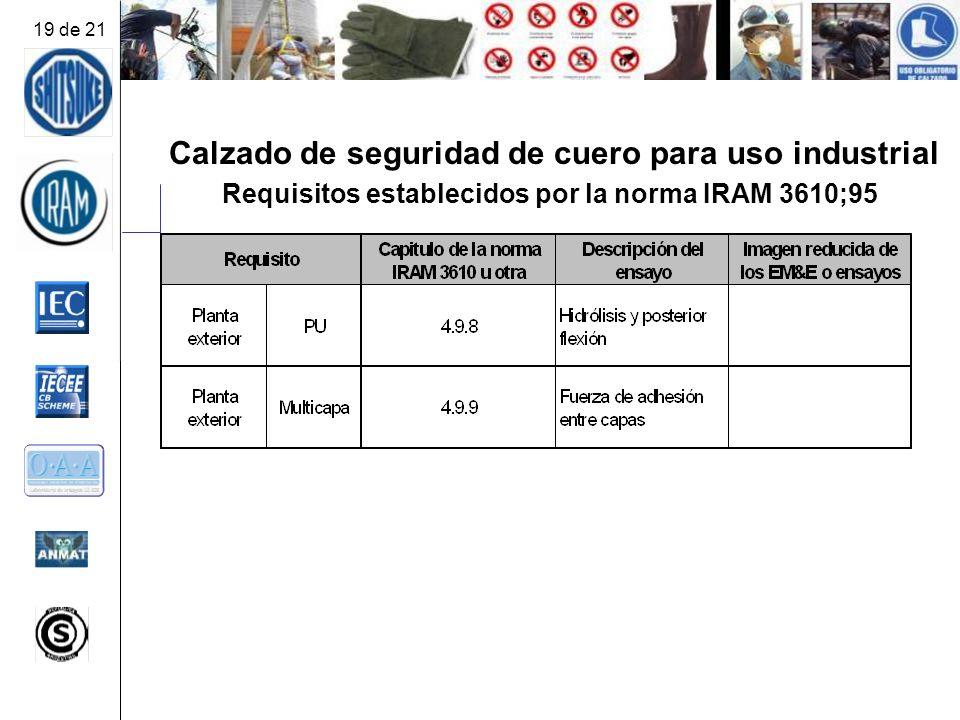 Calzado de seguridad de cuero para uso industrial Requisitos establecidos por la norma IRAM 3610;95 19 de 21