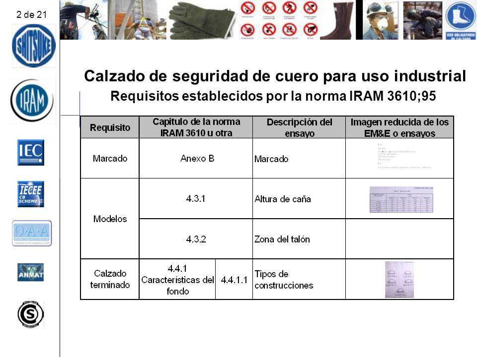 Calzado de seguridad de cuero para uso industrial Requisitos establecidos por la norma IRAM 3610;95 2 de 21