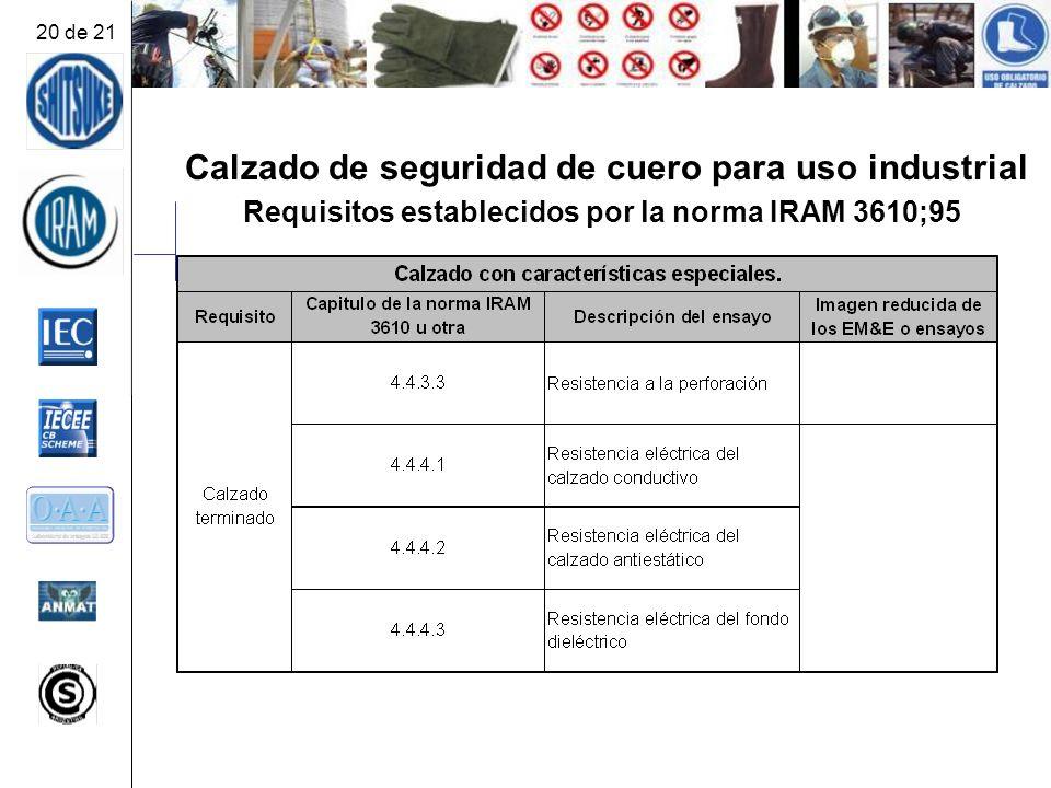 Calzado de seguridad de cuero para uso industrial Requisitos establecidos por la norma IRAM 3610;95 20 de 21