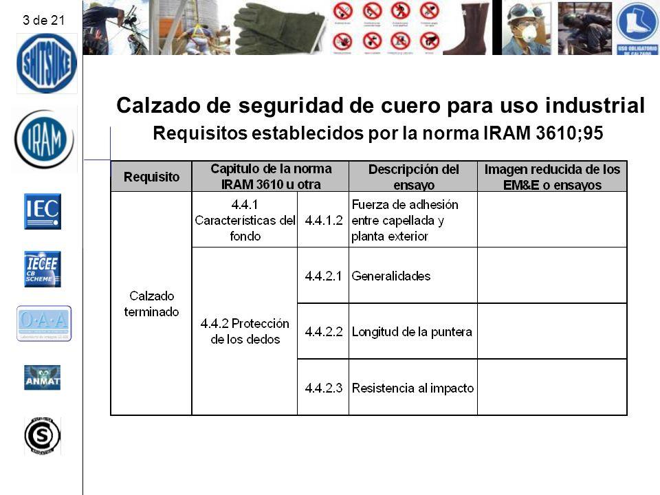 Calzado de seguridad de cuero para uso industrial Requisitos establecidos por la norma IRAM 3610;95 3 de 21
