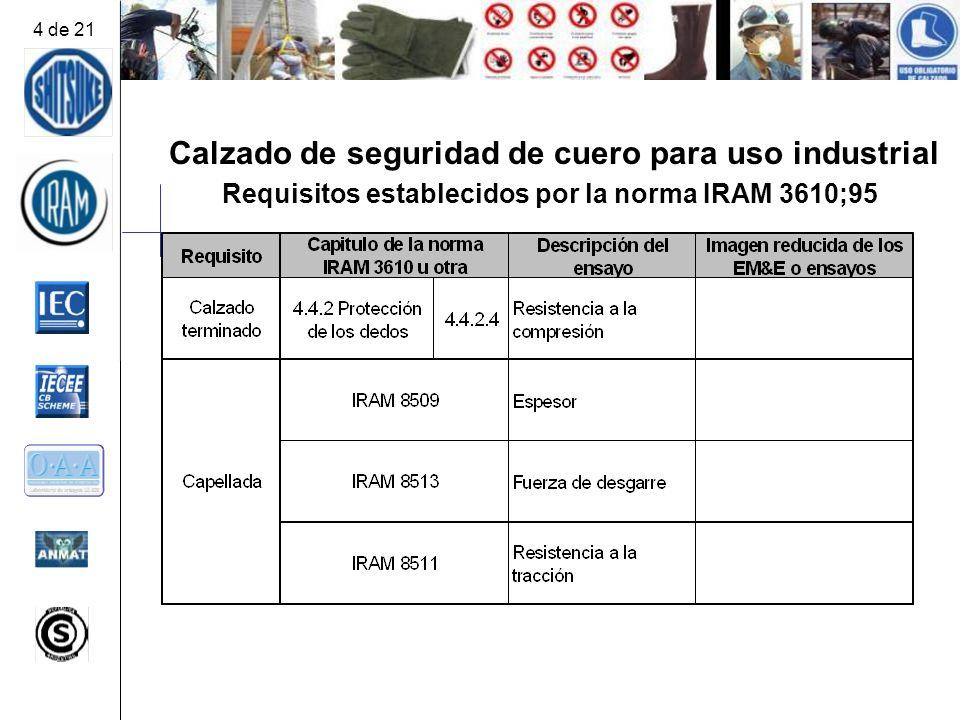 Calzado de seguridad de cuero para uso industrial Requisitos establecidos por la norma IRAM 3610;95 4 de 21