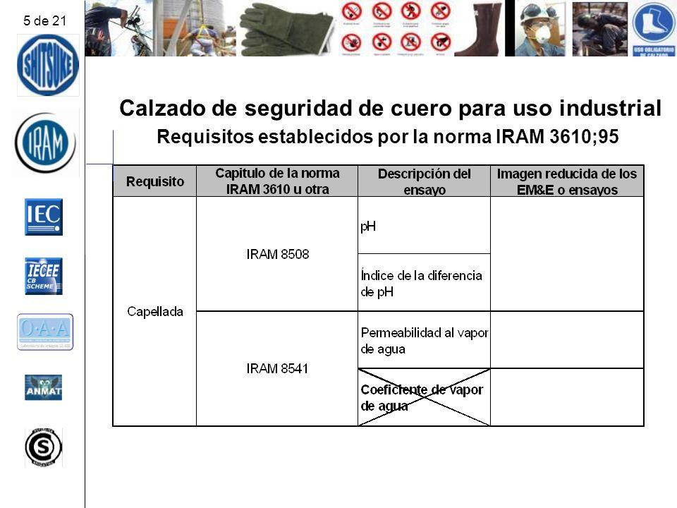 Calzado de seguridad de cuero para uso industrial Requisitos establecidos por la norma IRAM 3610;95 5 de 21