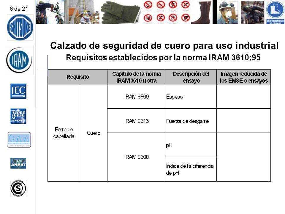 Calzado de seguridad de cuero para uso industrial Requisitos establecidos por la norma IRAM 3610;95 6 de 21