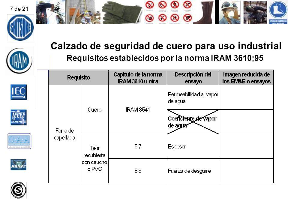 Calzado de seguridad de cuero para uso industrial Requisitos establecidos por la norma IRAM 3610;95 7 de 21