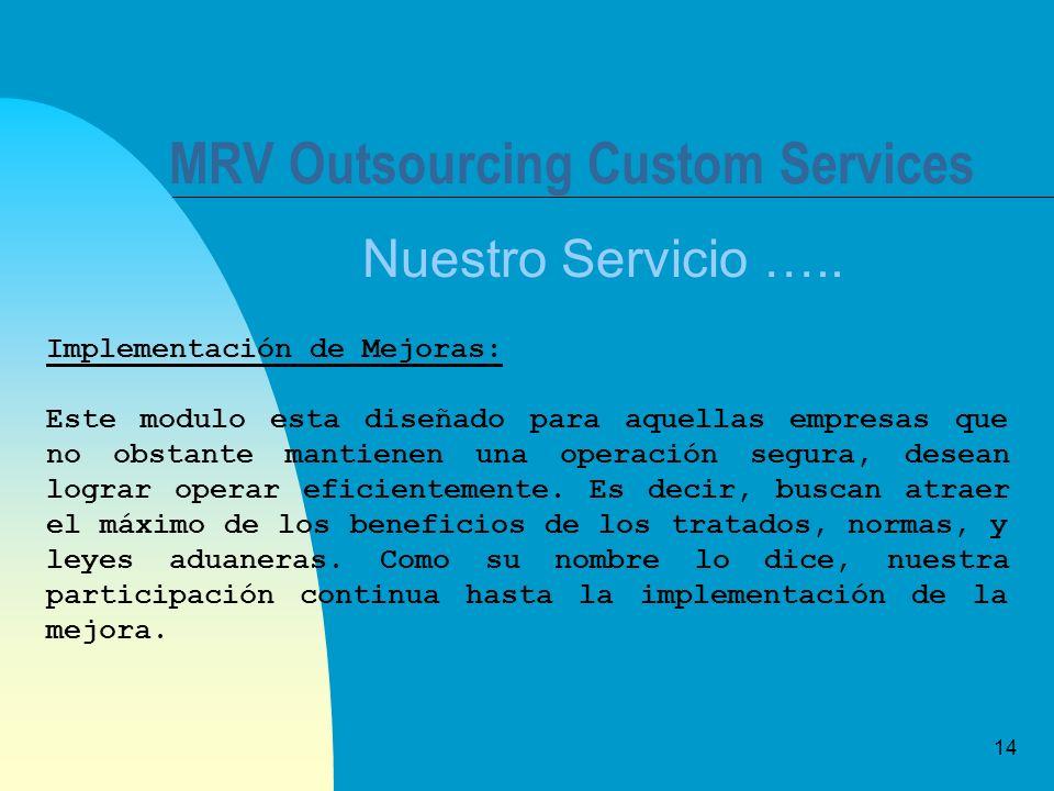 14 MRV Outsourcing Custom Services Nuestro Servicio ….. Implementación de Mejoras: Este modulo esta diseñado para aquellas empresas que no obstante ma