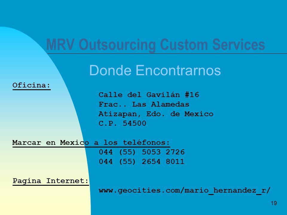 19 MRV Outsourcing Custom Services Donde Encontrarnos Oficina: Calle del Gavilán #16 Frac.. Las Alamedas Atizapan, Edo. de Mexico C.P. 54500 Marcar en
