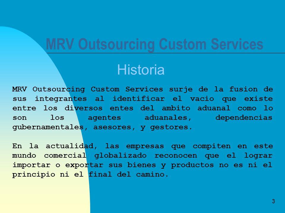 3 MRV Outsourcing Custom Services Historia MRV Outsourcing Custom Services surje de la fusion de sus integrantes al identificar el vacio que existe en