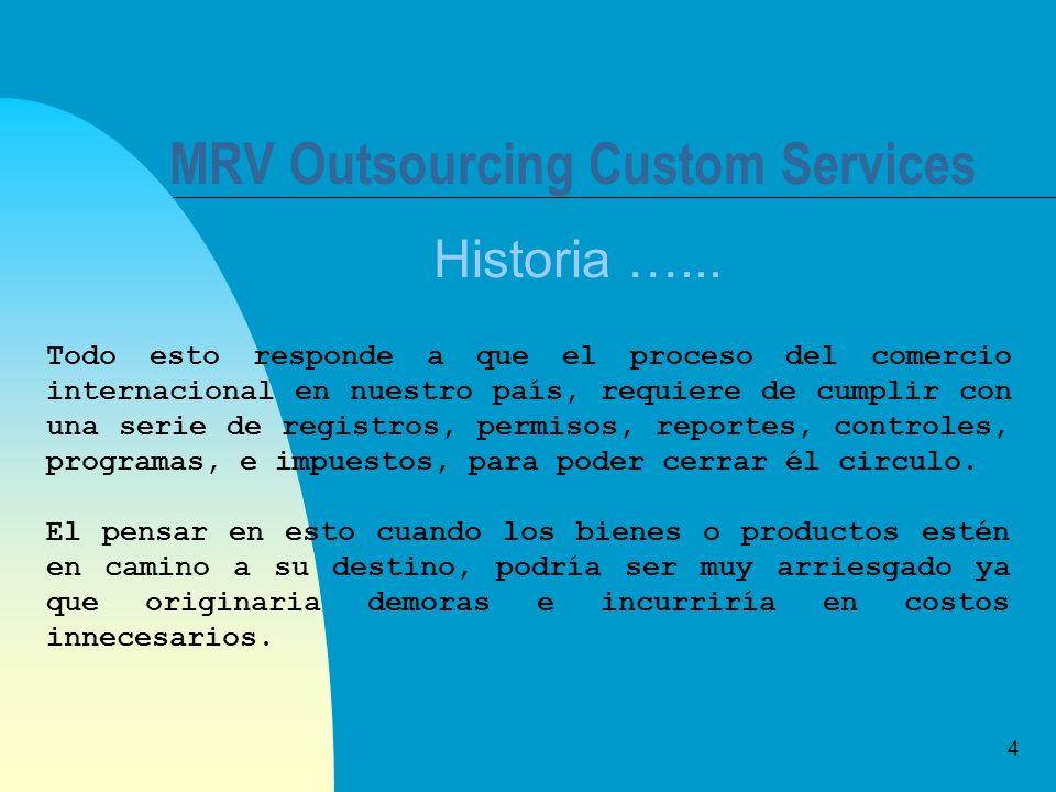 4 MRV Outsourcing Custom Services Historia …... Todo esto responde a que el proceso del comercio internacional en nuestro país, requiere de cumplir co