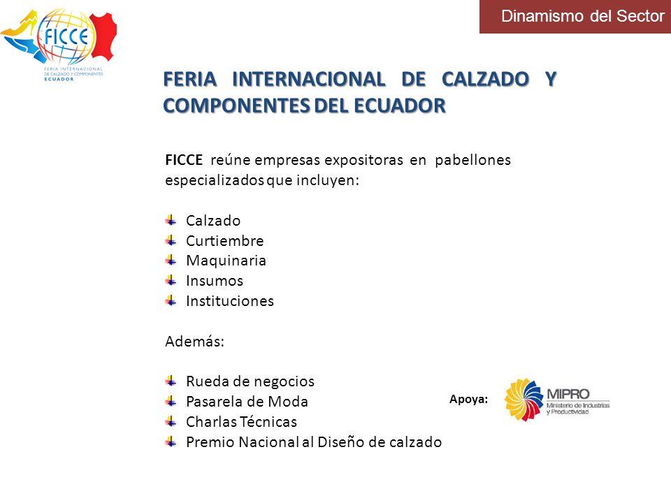 Dinamismo del Sector FERIA INTERNACIONAL DE CALZADO Y COMPONENTES DEL ECUADOR FICCE reúne empresas expositoras en pabellones especializados que incluy