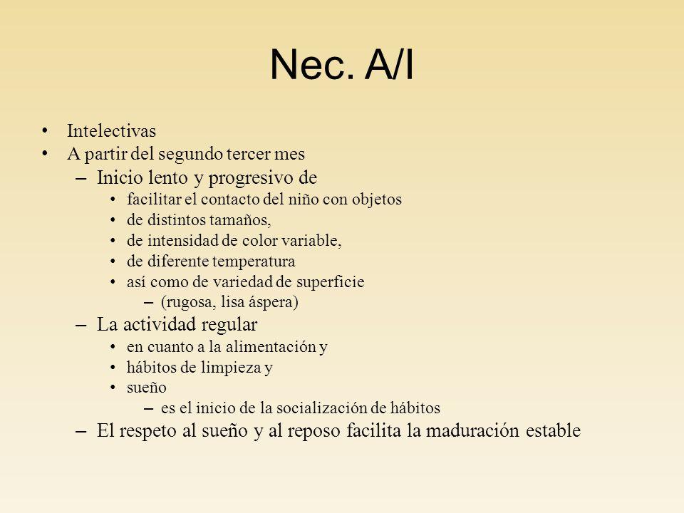 Nec. A/I Intelectivas A partir del segundo tercer mes – Inicio lento y progresivo de facilitar el contacto del niño con objetos de distintos tamaños,