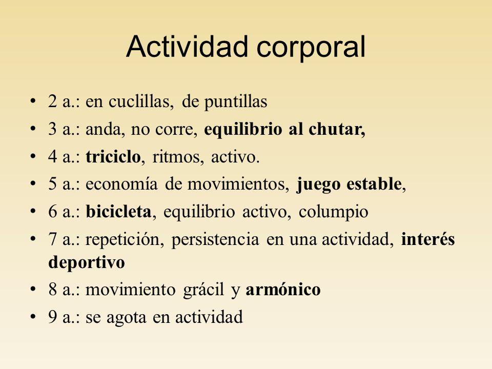 Actividad corporal 2 a.: en cuclillas, de puntillas 3 a.: anda, no corre, equilibrio al chutar, 4 a.: triciclo, ritmos, activo.