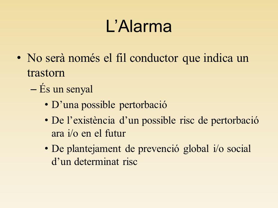 LAlarma No serà només el fil conductor que indica un trastorn – És un senyal Duna possible pertorbació De lexistència dun possible risc de pertorbació