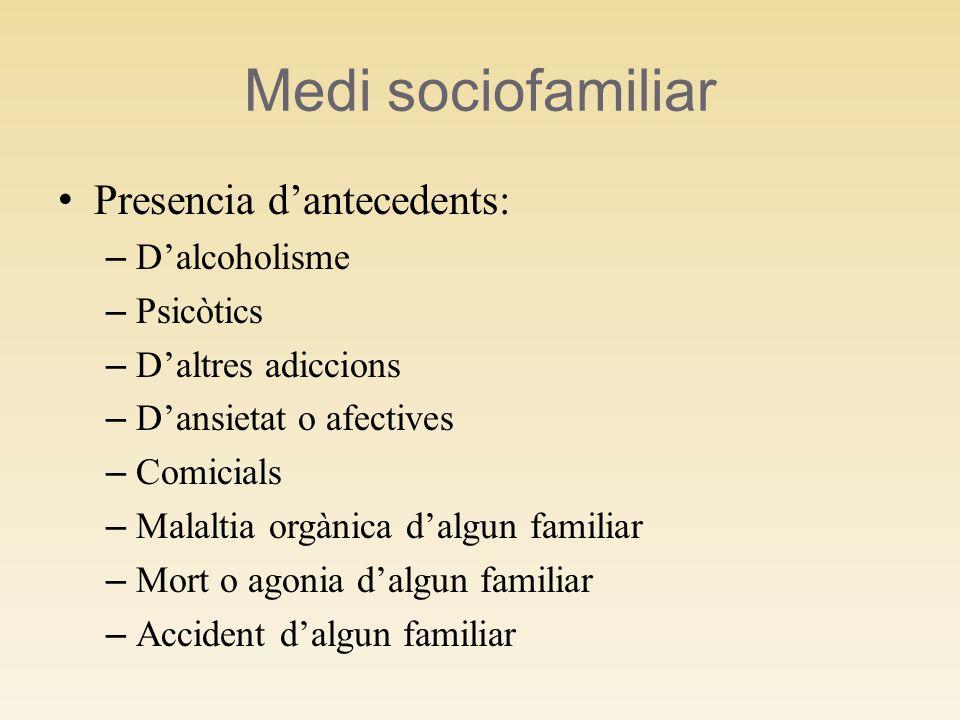 Medi sociofamiliar Presencia dantecedents: – Dalcoholisme – Psicòtics – Daltres adiccions – Dansietat o afectives – Comicials – Malaltia orgànica dalg