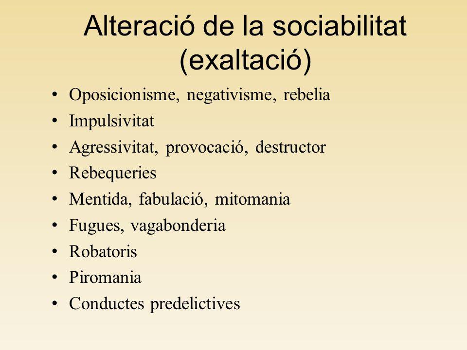 Alteració de la sociabilitat (exaltació) Oposicionisme, negativisme, rebelia Impulsivitat Agressivitat, provocació, destructor Rebequeries Mentida, fa