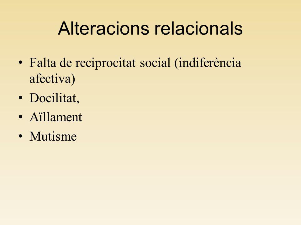 Alteracions relacionals Falta de reciprocitat social (indiferència afectiva) Docilitat, Aïllament Mutisme