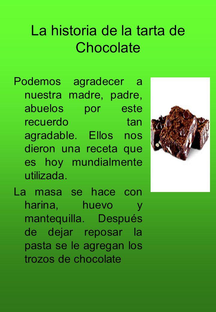 La historia de la tarta de Chocolate Podemos agradecer a nuestra madre, padre, abuelos por este recuerdo tan agradable. Ellos nos dieron una receta qu