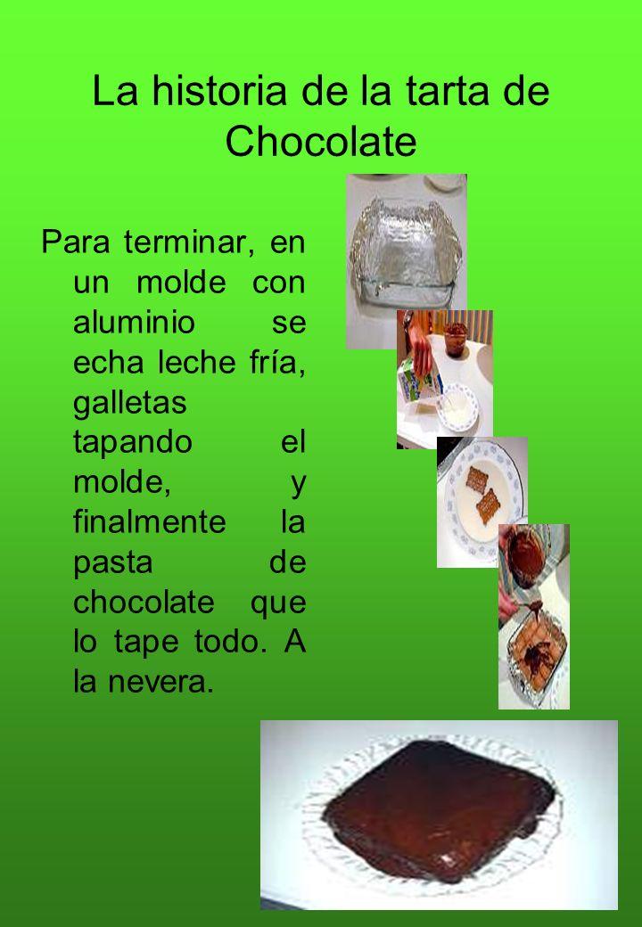 La historia de la tarta de Chocolate Para terminar, en un molde con aluminio se echa leche fría, galletas tapando el molde, y finalmente la pasta de c
