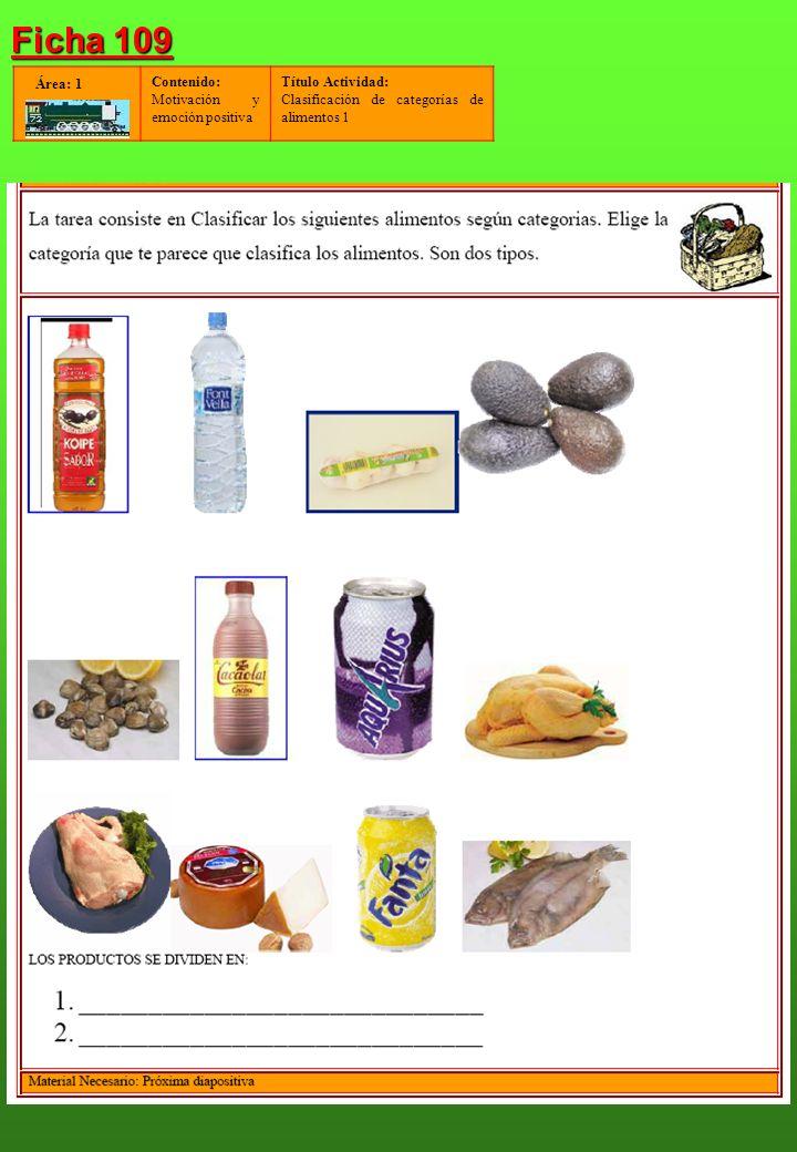 Contenido: Motivación y emoción positiva Título Actividad: Clasificación de categorías de alimentos 1 Área: 1 Ficha 109