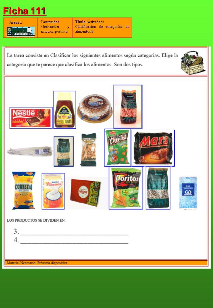 Contenido: Motivación y emoción positiva Título Actividad: Clasificación de categorías de alimentos 3 Área: 1 Ficha 111