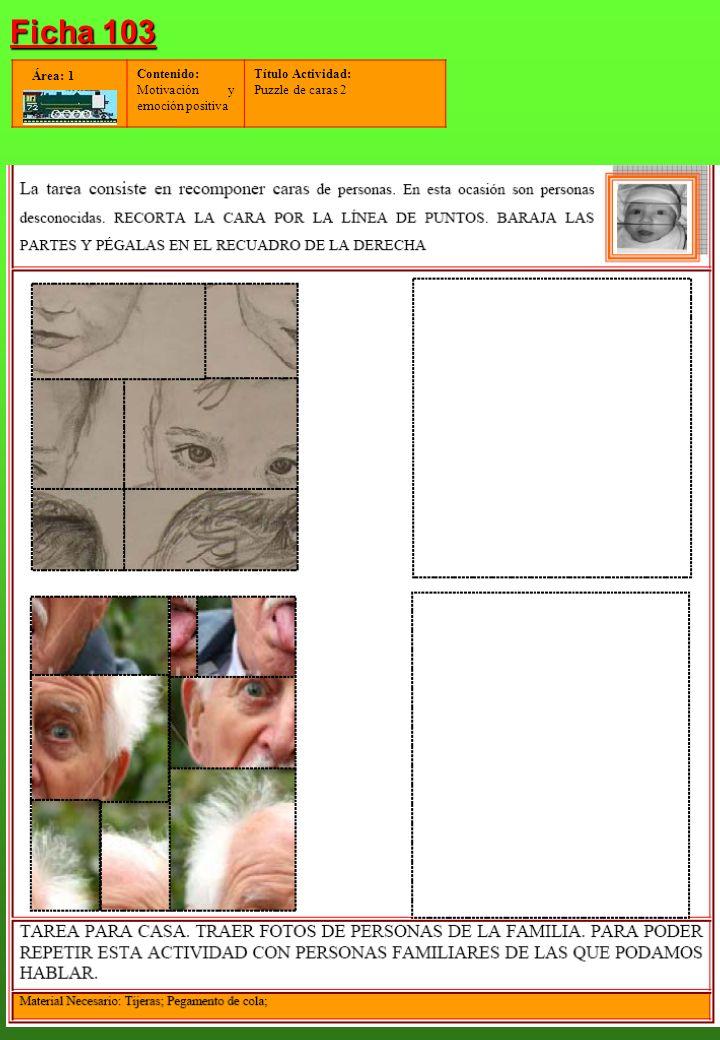 Contenido: Motivación y emoción positiva Título Actividad: Puzzle de caras 3 Área: 1 Ficha 104