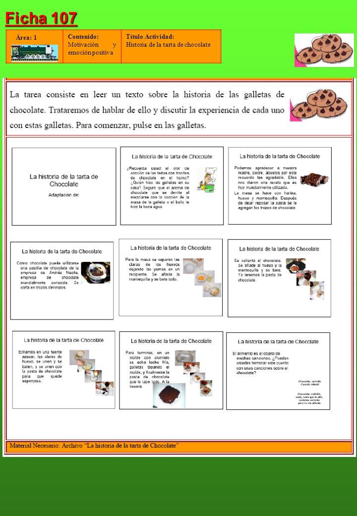 Contenido: Motivación y emoción positiva Título Actividad: Historia de la tarta de chocolate Área: 1 Ficha 107