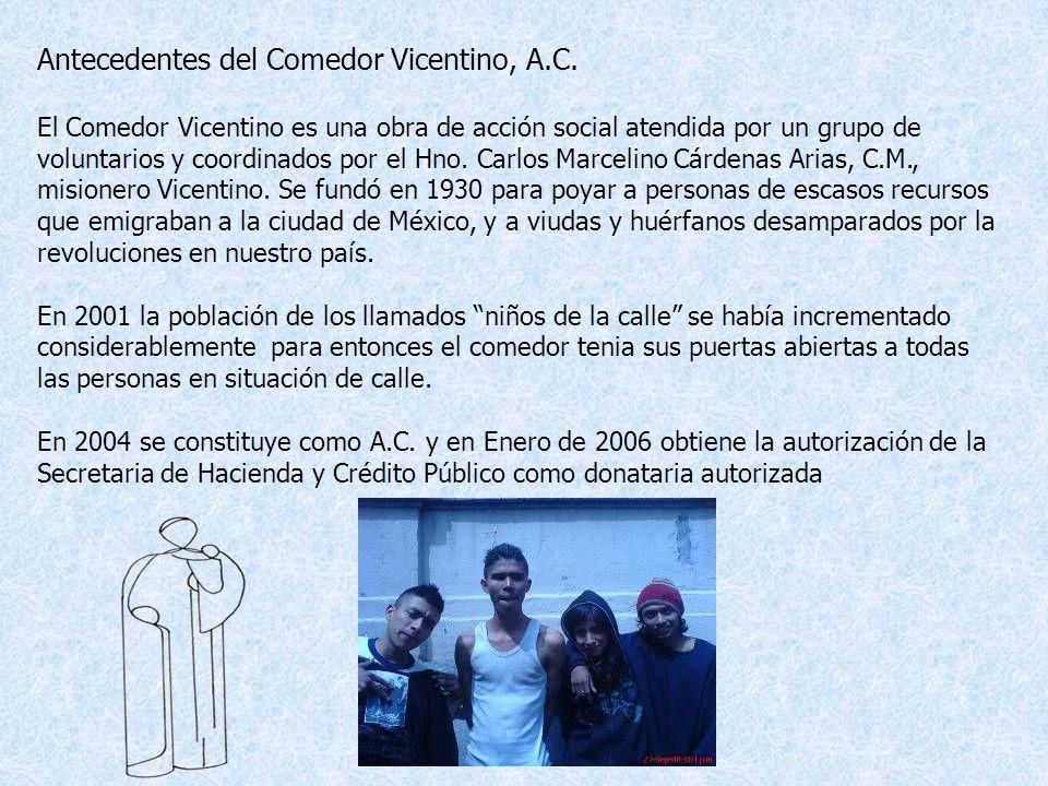 Un espacio para servir a Dios en el hombre. Plaza de la Concepción Nº 20, Col. Centro Del. Cuauhtémoc 06010 México, D. F. comedor_vicentino_ac@yahoo.c