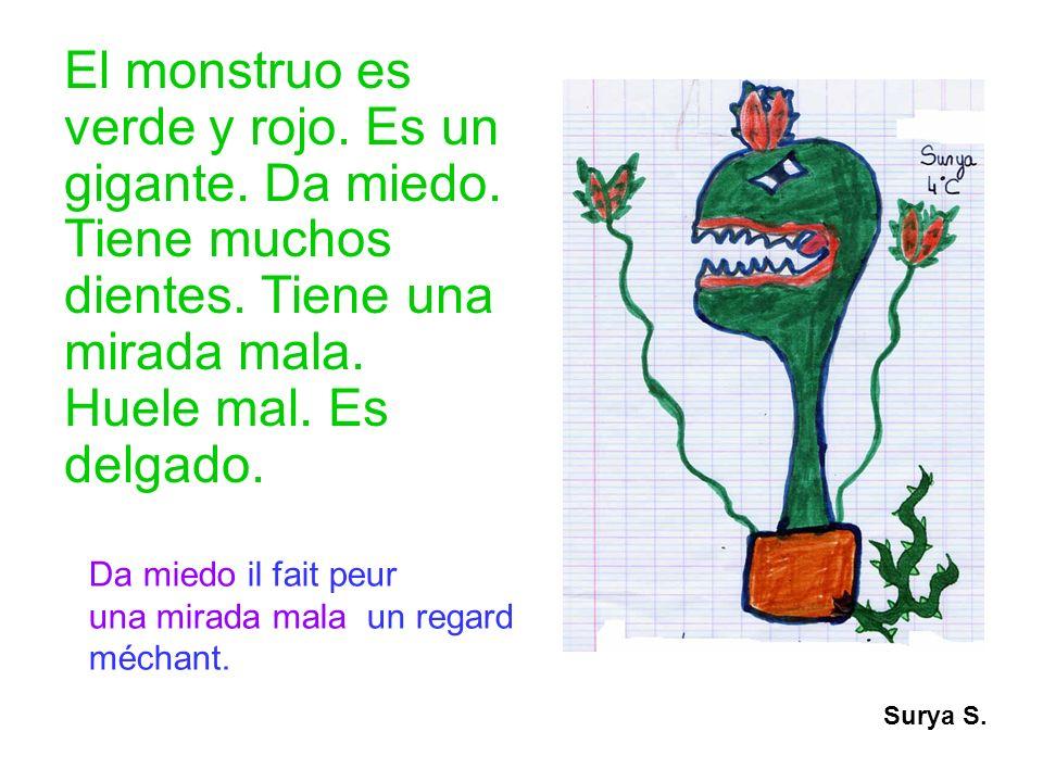 El monstruo es verde y rojo. Es un gigante. Da miedo. Tiene muchos dientes. Tiene una mirada mala. Huele mal. Es delgado. Surya S. Da miedo il fait pe