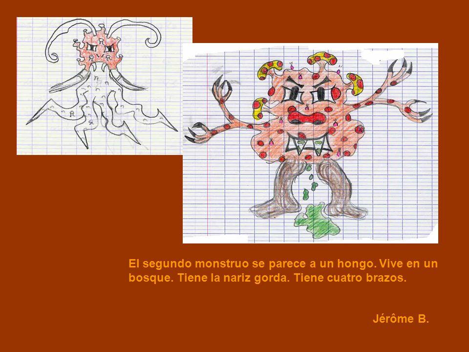 Jérôme B. El segundo monstruo se parece a un hongo. Vive en un bosque. Tiene la nariz gorda. Tiene cuatro brazos.
