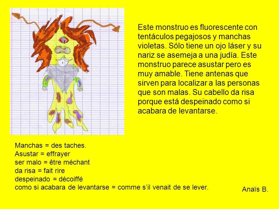 Este monstruo es fluorescente con tentáculos pegajosos y manchas violetas.