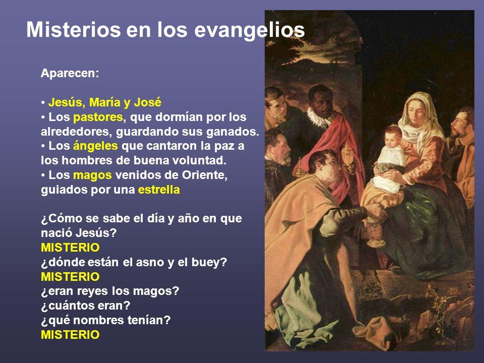 Aparecen: Jesús, María y José Los pastores, que dormían por los alrededores, guardando sus ganados. Los ángeles que cantaron la paz a los hombres de b