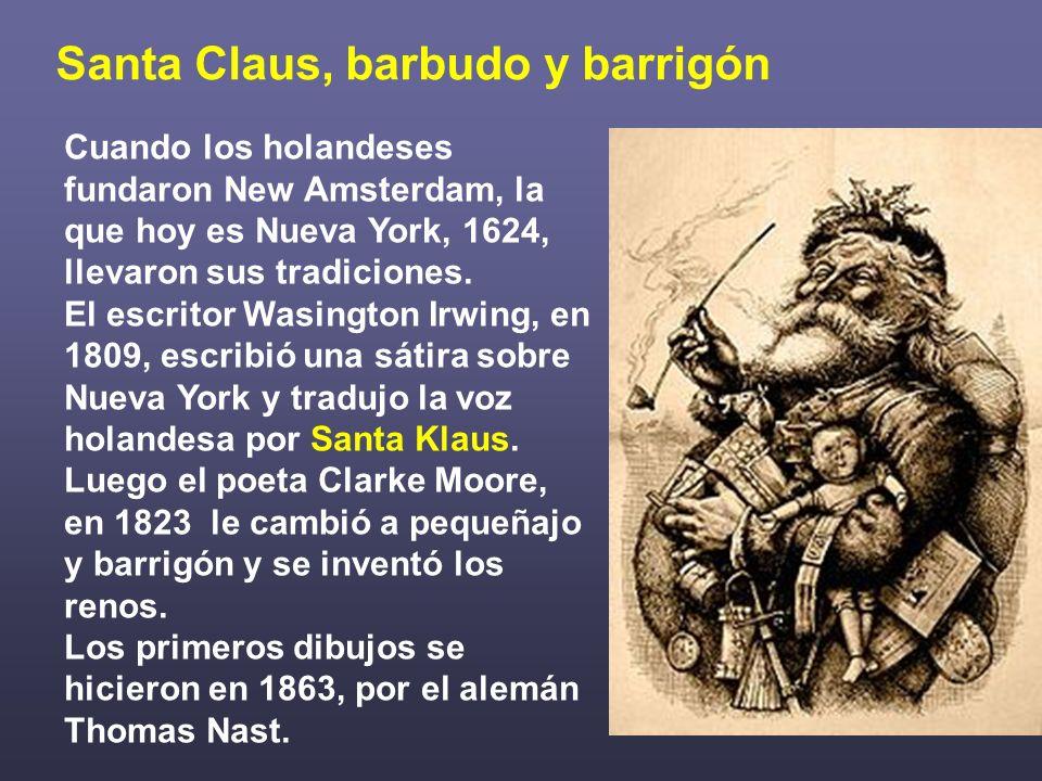 Papa Noel el híbrido comercial A mediados del siglo XIX, el Santa Claus estadounidense pasó a Inglaterra y de allí a Francia, donde se fundió con Bonhomme Noël que asoció los regalos al árbol, con colgajos de manzanas y luces.