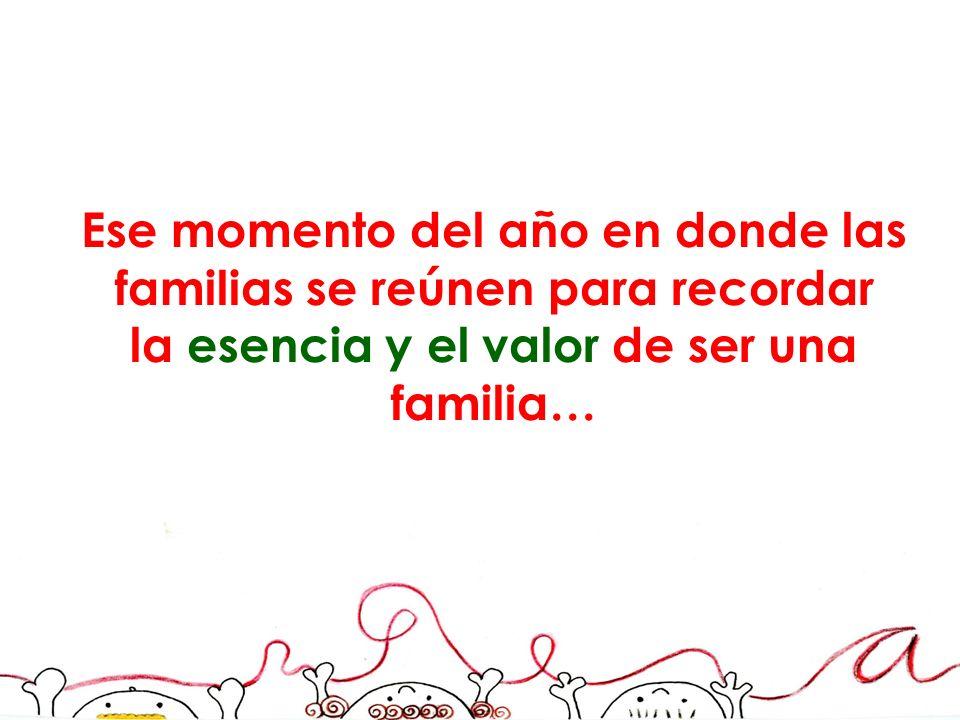 Ese momento del año en donde las familias se reúnen para recordar la esencia y el valor de ser una familia…