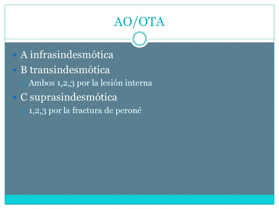 AO/OTA A infrasindesmótica B transindesmótica Ambos 1,2,3 por la lesión interna C suprasindesmótica 1,2,3 por la fractura de peroné