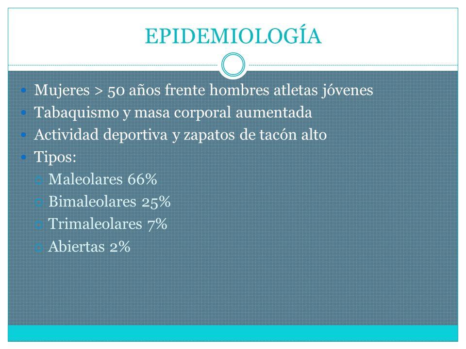 ESTABLES E INESTABLES No desplazamiento Maléolo aislado No asociación a lesión ligamentosa