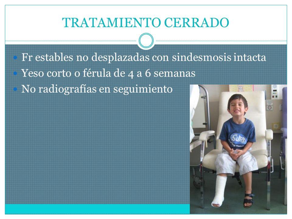 TRATAMIENTO CERRADO Fr estables no desplazadas con sindesmosis intacta Yeso corto o férula de 4 a 6 semanas No radiografías en seguimiento