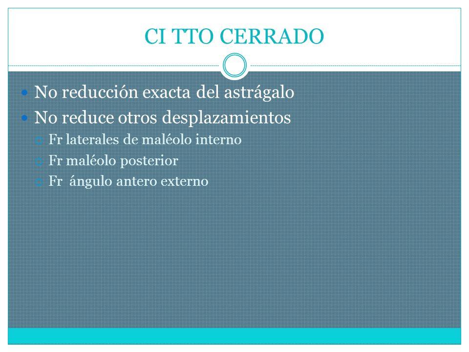CI TTO CERRADO No reducción exacta del astrágalo No reduce otros desplazamientos Fr laterales de maléolo interno Fr maléolo posterior Fr ángulo antero externo