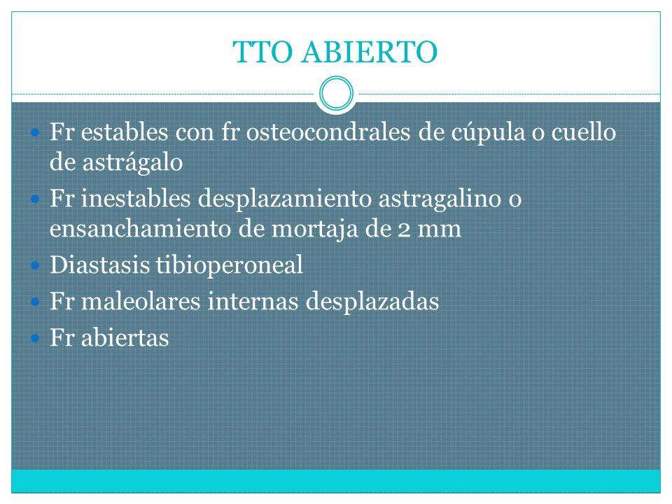 TTO ABIERTO Fr estables con fr osteocondrales de cúpula o cuello de astrágalo Fr inestables desplazamiento astragalino o ensanchamiento de mortaja de 2 mm Diastasis tibioperoneal Fr maleolares internas desplazadas Fr abiertas