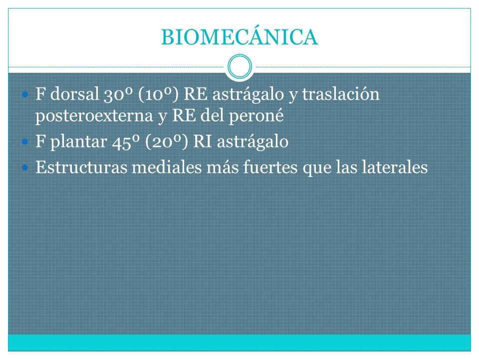 BIOMECÁNICA F dorsal 30º (10º) RE astrágalo y traslación posteroexterna y RE del peroné F plantar 45º (20º) RI astrágalo Estructuras mediales más fuertes que las laterales