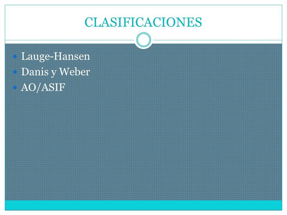 CLASIFICACIONES Lauge-Hansen Danis y Weber AO/ASIF