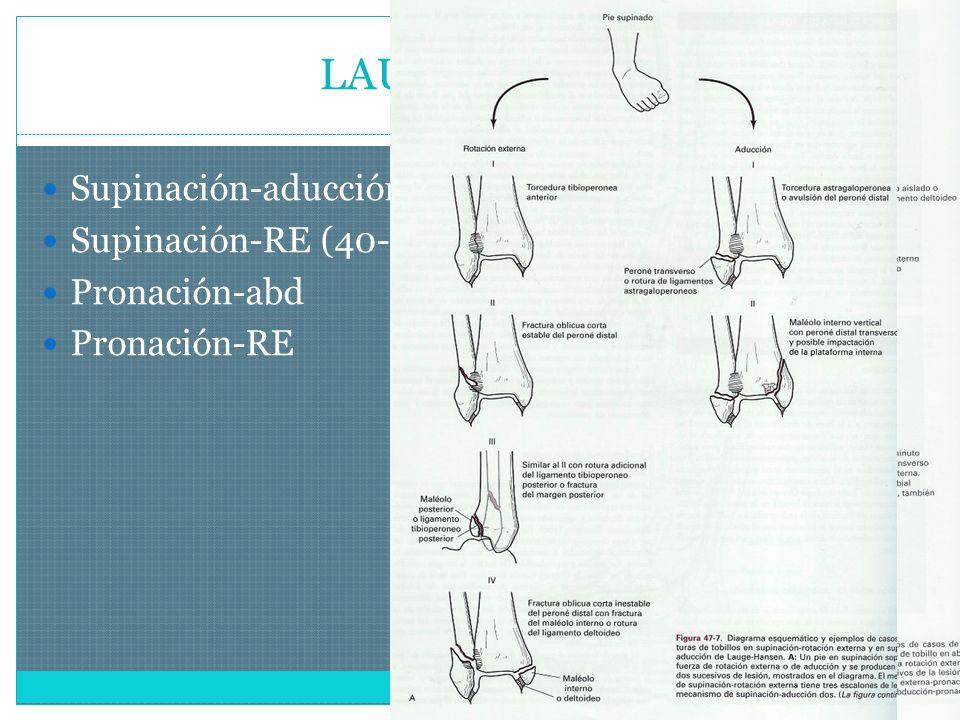 LAUGE-HASEN Supinación-aducción Supinación-RE (40-75%) Pronación-abd Pronación-RE
