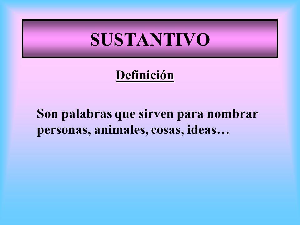 SUSTANTIVO Definición Son palabras que sirven para nombrar personas, animales, cosas, ideas…