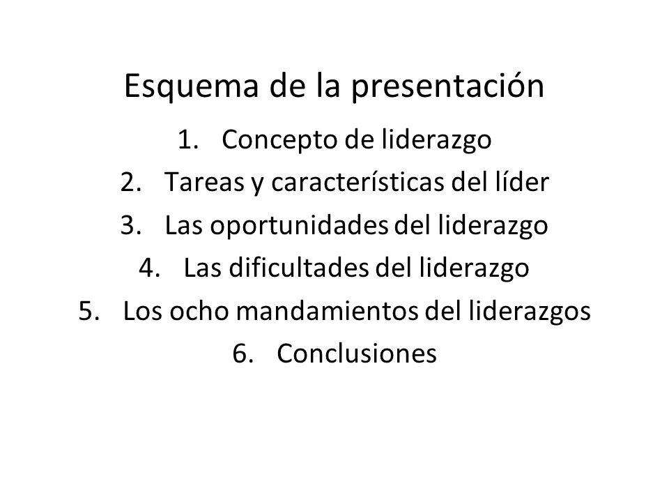 Esquema de la presentación 1.Concepto de liderazgo 2.Tareas y características del líder 3.Las oportunidades del liderazgo 4.Las dificultades del lider