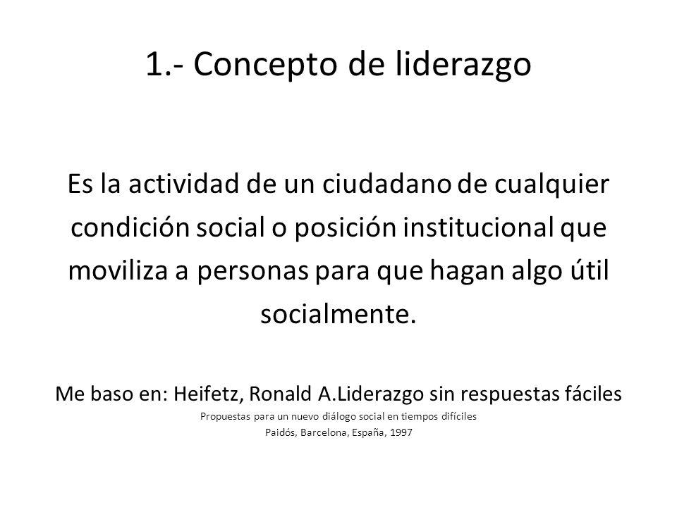 1.- Concepto de liderazgo Es la actividad de un ciudadano de cualquier condición social o posición institucional que moviliza a personas para que haga