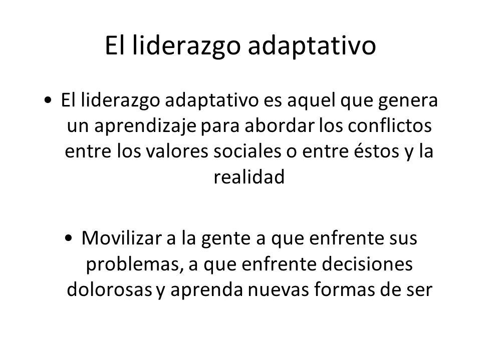 El liderazgo adaptativo El liderazgo adaptativo es aquel que genera un aprendizaje para abordar los conflictos entre los valores sociales o entre ésto