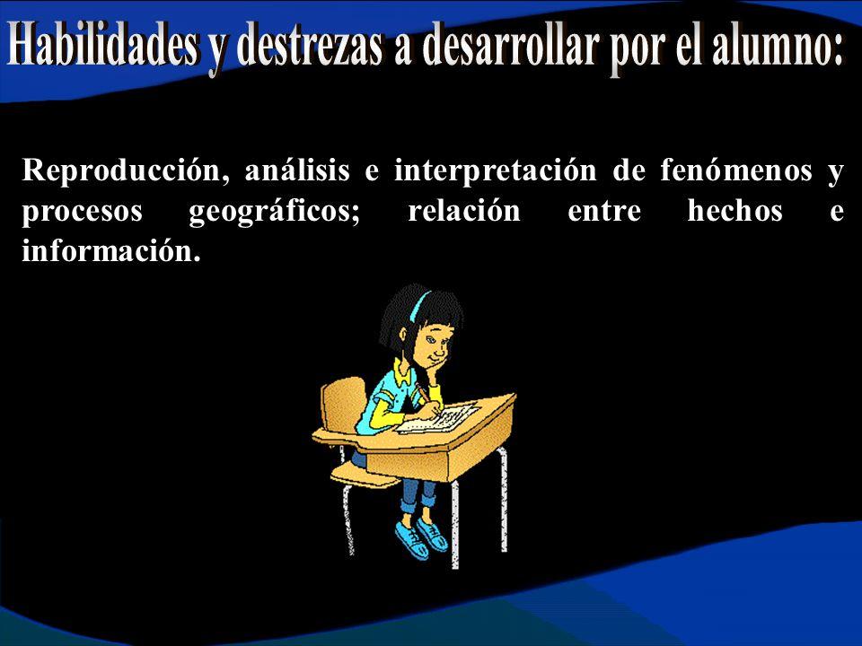 Reproducción, análisis e interpretación de fenómenos y procesos geográficos; relación entre hechos e información.